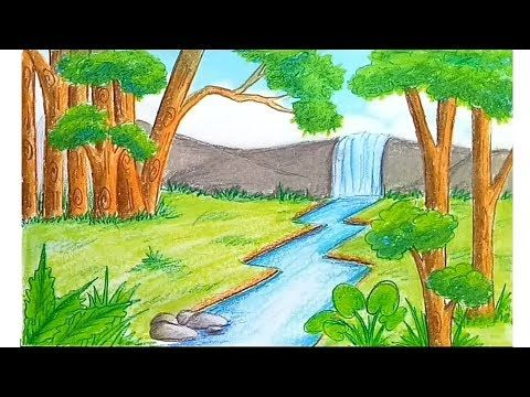 Waterfall Scenery Drawing For Beginners With Oil Pastels Step By Step Youtube Easy Nature Drawings Landscape Drawings Drawing Scenery