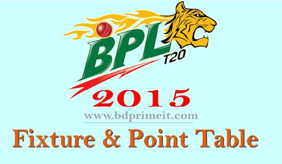 Bangladesh Premier League 2015 schedule & fixture. See Bangladesh Premier League 2015 point table latest news from here.