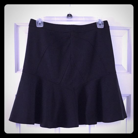 LOWEREDBlack Skater Skirt Cute black skater skirt by Halogen. High waisted with fun stitched detail on front and back with zip closure. In good condition, some peeling on front and back (see photos) size small Halogen Skirts Circle & Skater