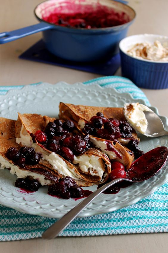 Italian Chestnut Flour Crepes with Blueberry Cranberry Compote (GF)