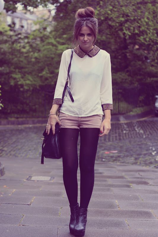 studded trim blouse, pale shorts, black tights and booties