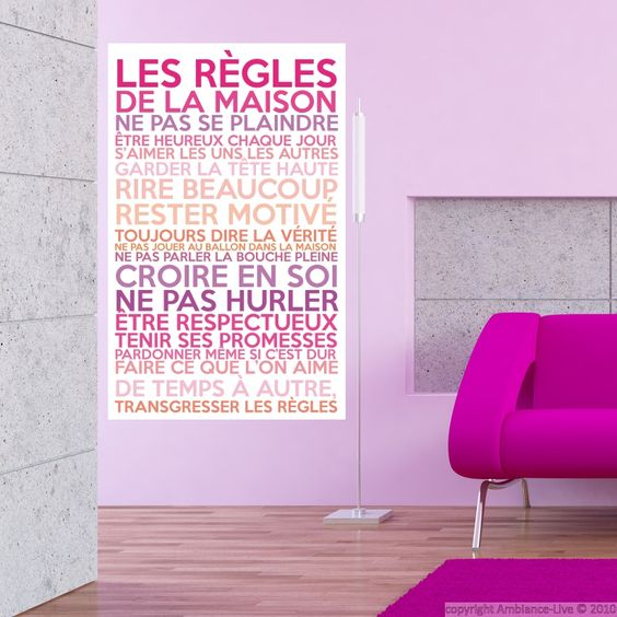 sticker poster les r gles de la maison couleurs girly. Black Bedroom Furniture Sets. Home Design Ideas