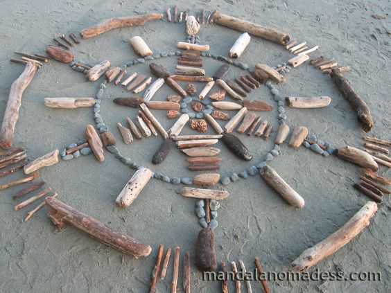 Mandala Art Medium: ~~rounded speckled drift wood, grey stone, dark and light driftwood pieces, driftwood stick on a white sand canvas~~: