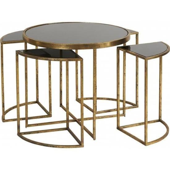 Table Gigogne Modulable Marque Hanjel Consoles D Appoint Bout De Canape 5 Pieces En Metal Dore Et Verre Noir 42x42x45cm Noir Et Or Tables Gigognes Table Gigogne Verre Bout De Canape