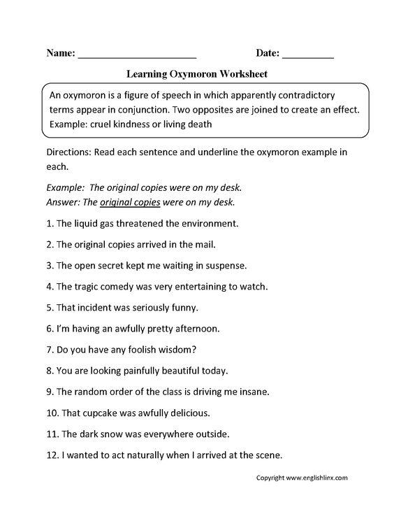 Oxymoron Figurative Language Worksheets   Englishlinx.com Board ...