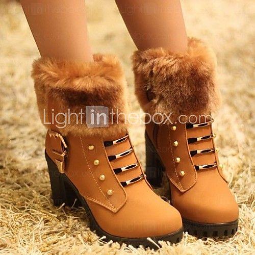 damesschoenen mode laarzen dikke hak enkellaarsjes met rits meer kleuren beschikbaar - USD $19.99
