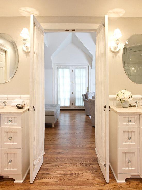 French doors into bathroom