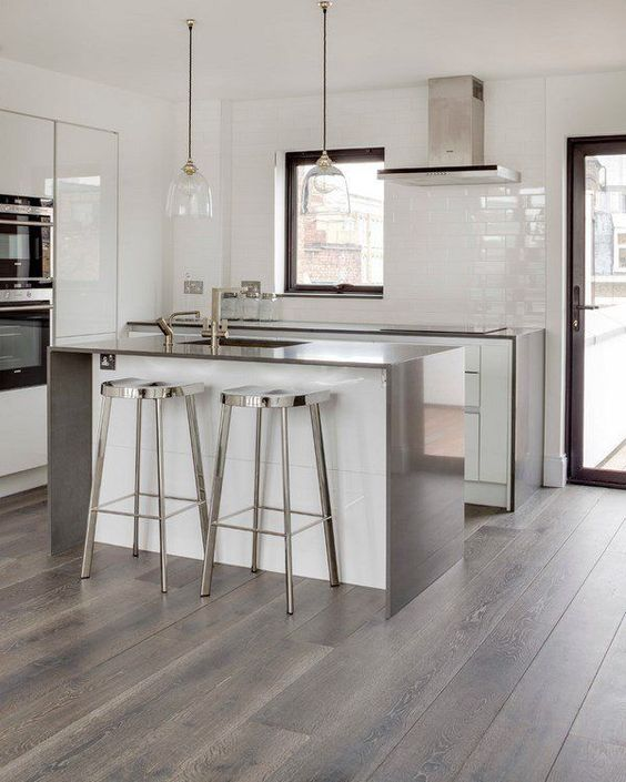 Grey hardwood floors ideas modern white kitchen design for Contemporary kitchen flooring ideas