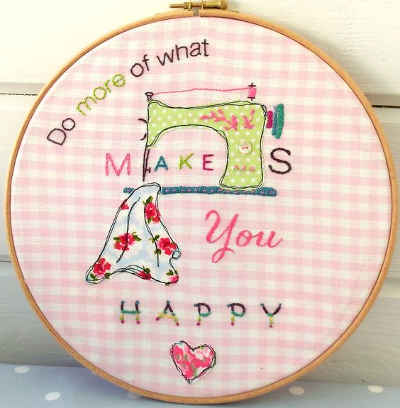 Do More of What Makes you Happy Embroidery from Bustle & Sew. This inspirational stitchery is in the September 2014 issue of Bustle & Sew Magazine - get your pattern from www.bustleandsew.com