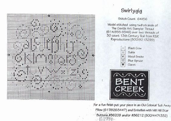 Free Bent Creek Cross Stitch | Bent Creek Swirlygig free chart