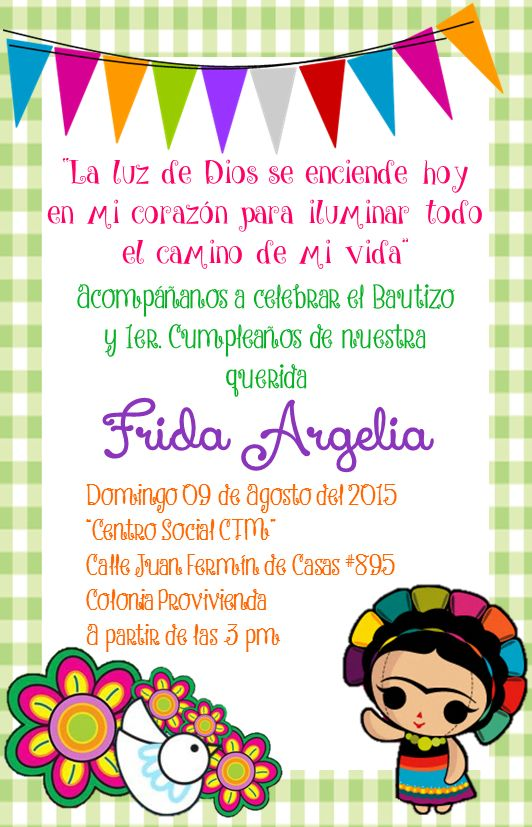 Invitaci n bautizo cumplea os estilo mexicano fiesta - Fiesta sorpresa de cumpleanos para nina ...
