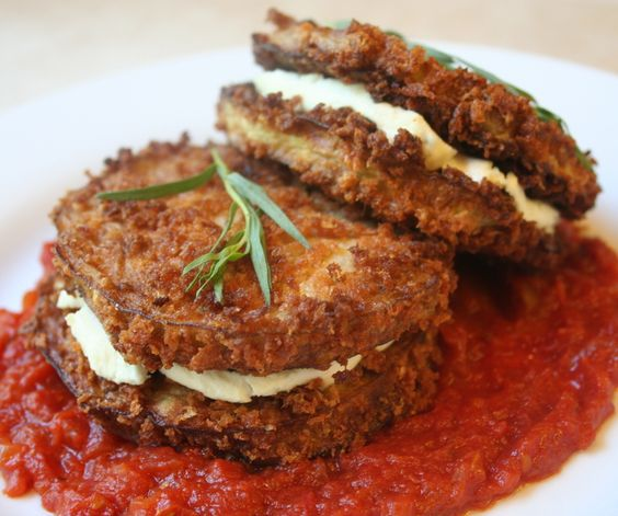 Eggplant and Goat-Cheese Sandwiches with Tomato Tarragon Sauce {recipe}