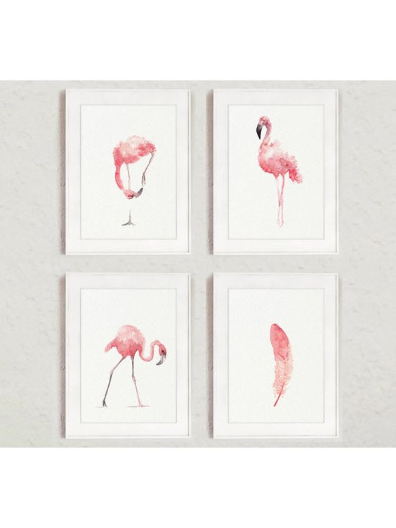 Flamingo Whimsical Art Print Set 4, Pink Kids Nursery Room Decor, Feather Painting Abstract Animal Watercolor Poster, Tropical Birds Decor