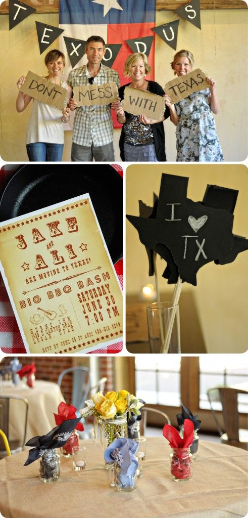 Going Away Party or a Texas themed party - would work well for a dinner for international students visiting Texas