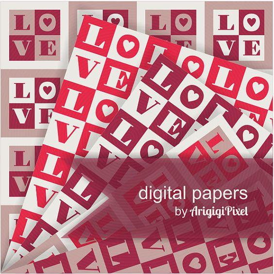 Valentine Love, digital collage sheet, Valentine's Day scrapbooking paper, checkered, red, beige, digital background, instant download