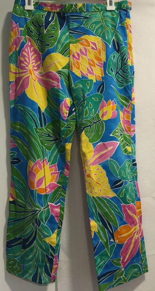 Lauren Ralph Lauren Women Hawaiian Tropical Floral Summer Cropped Pants Size 8  #LaurenRalphLauren #CaprisCropped #Casual