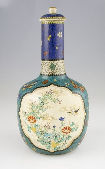 Covered Vase with Decoration of Bird, Butterflies, and Flowers, Japanese, Meiji period, c. 1868-95 | Harvard Art Museums/Arthur M. Sackler Museum