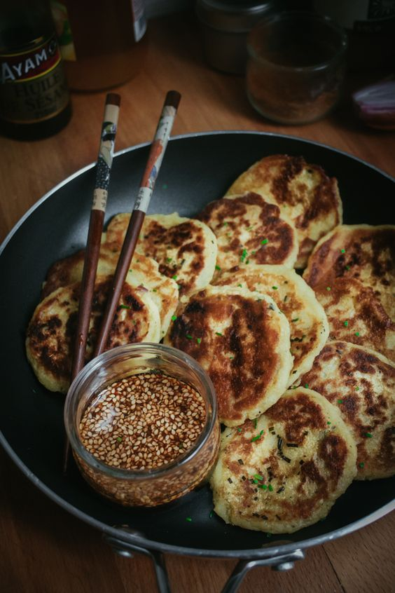 asian chive pancakes made with leftover mochi ingredients: