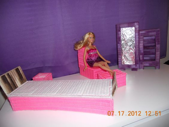 DIY barbie furniture made with plastic canvas!