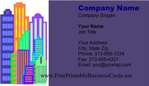 This cityscape business card featuring several brightly colored skyscrapers toward the left of the design. Free to download and print
