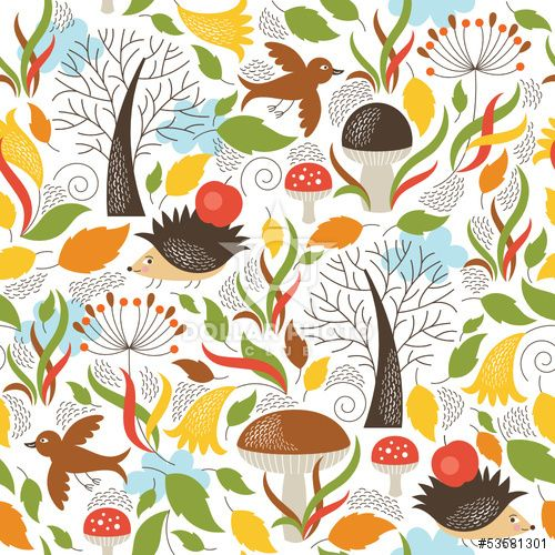 Seamless  pattern with a cute hedgehogs in a forest