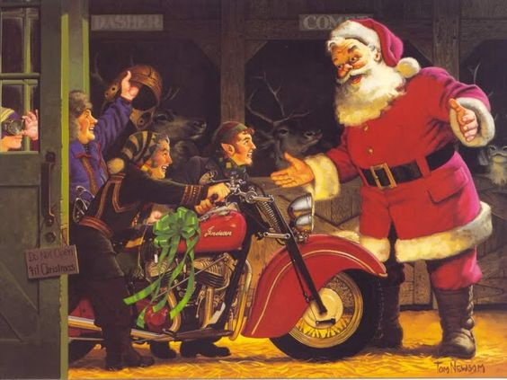 Santa gets an Indian Motorcycle | Biker Christmas Card Collection: