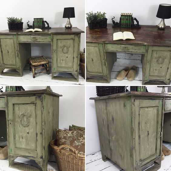 Praca skończona. Work with this piece of furniture finally finished! ☺️🔨🍾 Cleaning, lot of sanding, disposing the wood bugs, painting different layers, scratching and finally waxing! #vintage #shabbychic #shabbyhouse #layers #handpainted #chalkpaint #chateau #green #woodwork #furnituremakeover #furniture #redesign #makeover #rustic #farmhouse #anniesloan