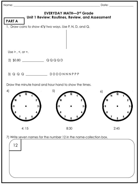 Everyday Math Grade 3 Unit 6 Review everyday math 5th grade unit – Everyday Math Grade 3 Worksheets