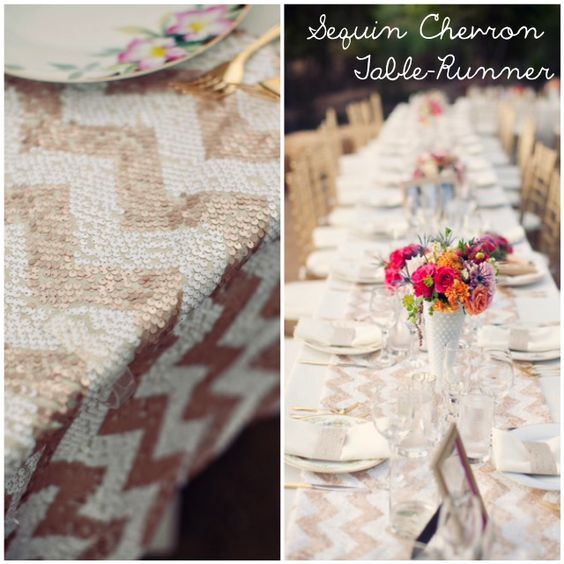sequin chevron gold table runner tablescape setting party time. Black Bedroom Furniture Sets. Home Design Ideas