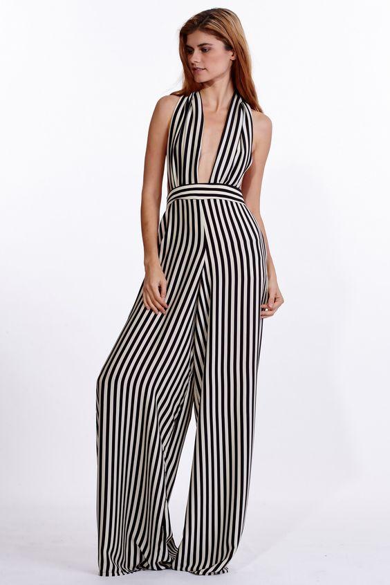Bianca Stripe Silk Jumpsuit