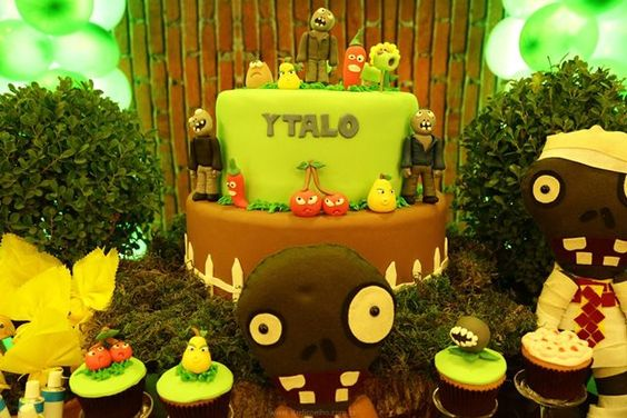Decoração Zumbi ~ Bolo Cake Plants vs Zombies Party Decor Festa infantil plantas vs zombie Pinterest