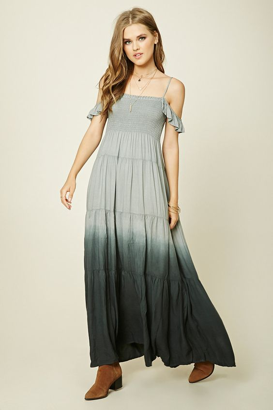A knit maxi dress featuring an ombre print, open-shoulder design with adjustable straps and ruffled sleeves, a smocked bust, and a tiered skirt. This is an independent brand and not a Forever 21 branded item.