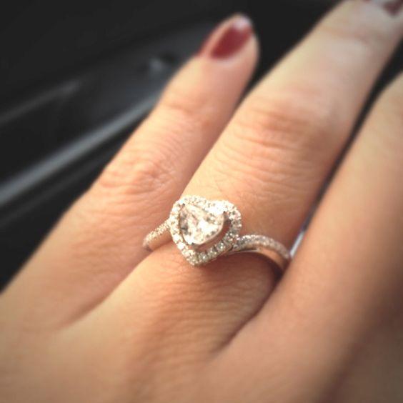 My heart shaped diamond engagement ring