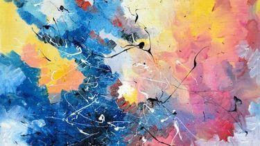 28 Lukisan Abstrak Mudah Di Kanvas