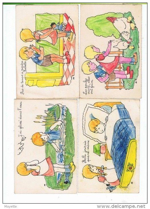 CPA-LOT DE 5 CARTES-ILLUSTRATEUR-FB-DESSINS AVEC 2 ENFANTS DANS DIVERSES SITUATIONS-COLORIER PAR 1 ENFANT-