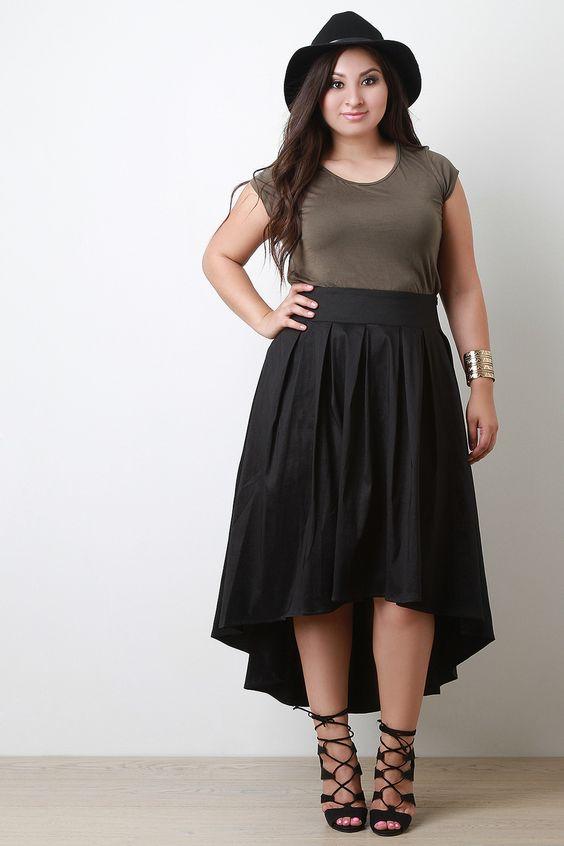 Pleated Taffeta High-Low Skirt   UrbanOG