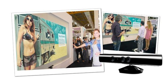 Ação em evento para o lançamento da coleção Verão 2012 da Nu.luxe. A coleção foi exibida em uma tela interativa de 3 metros de largura, sensível aos movimentos das pessoas que interagiam com a vitrine. // Cliente: Nu.Luxe