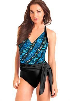 Carol Wior Tahitian Batik 3 Way Sarong Slimsuit | Plus Size Swimwear | Roamans