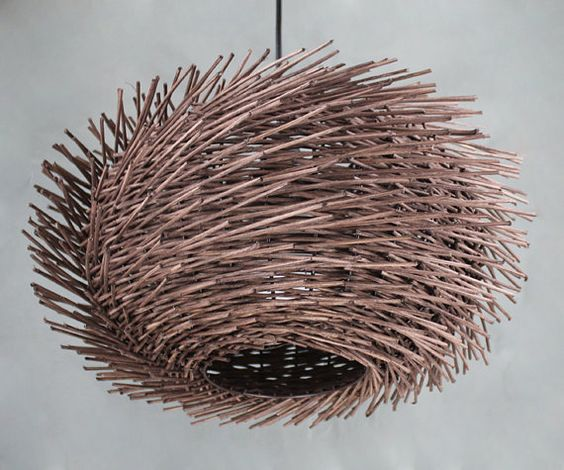 Handgewebte Rattan wellig geformt Vogel Nest Anhänger Licht