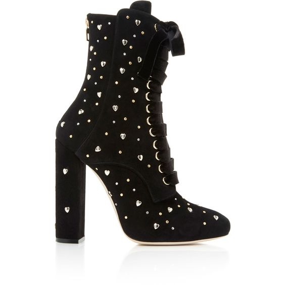 Elie Saab     Lace Up Boot with Studs (4.970 RON) ❤ liked on Polyvore featuring shoes, boots, ankle booties, studded ankle boots, lace up bootie, lace up ankle bootie, bootie boots and laced ankle boots