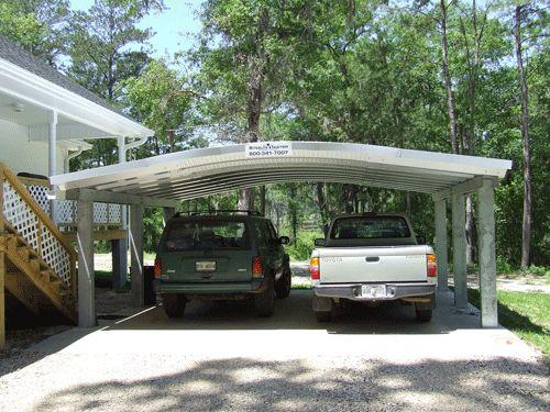 Prefab Carports Double : Metal prefabricated double carport yard ideas