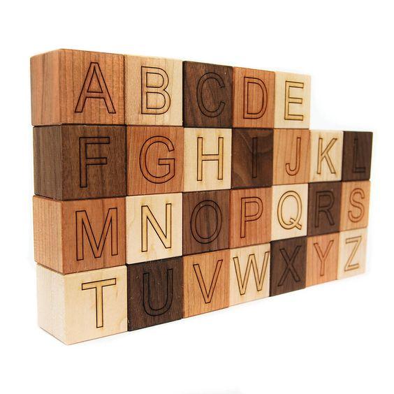 Alphabet Blocks wooden toy building blocks letter blocks. SO CUTE!