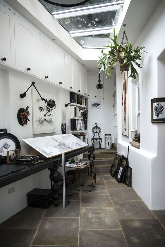 studio creative workspace with skylights | interior design + decorating ideas