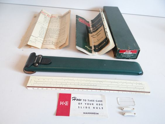 K & E Keuffel and Esser Slide Rule 4053-3 Polyphase in Leather Case with Box Manual and Popular Science 1962 Article by SecondWindShop on Etsy