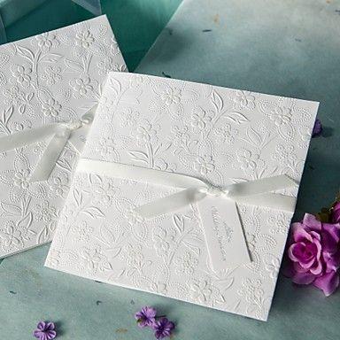 White Embossed Spring Flowers Wedding Invitation (Set of 50) - AUD $ 70.82