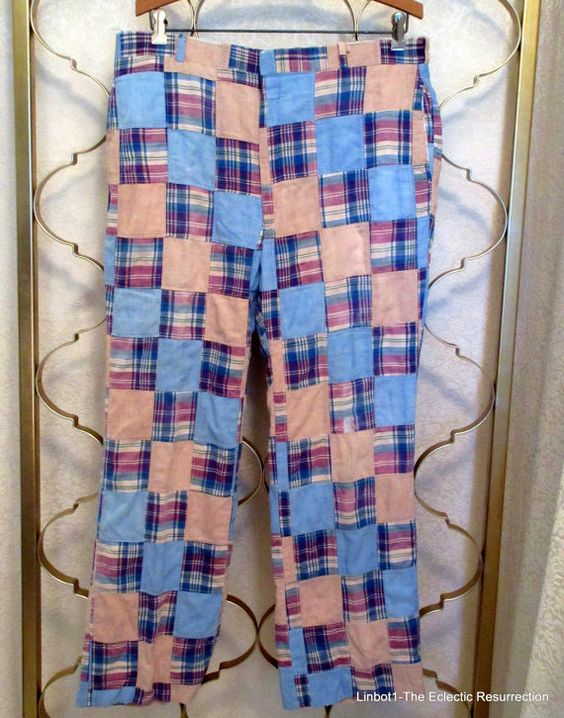 Vintage 1960s-70s Madras Plaid Patchwork Pants 34 x 29 by linbot1