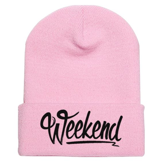 Weekend Embroidered Knit Cap
