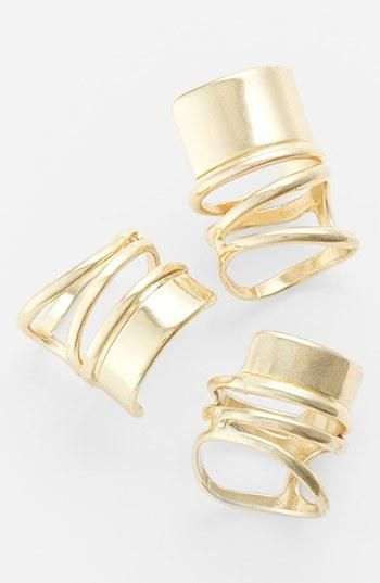 Leith's Bold Spiral Band Ring Set. (Rings are open at back and adjustable.)