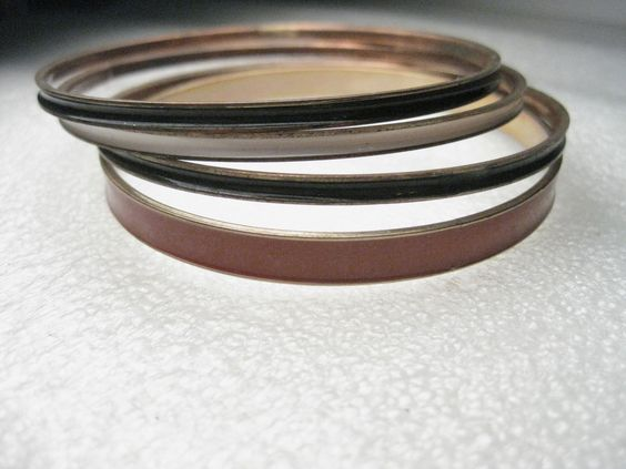 "Vintage Red, Black & White Enameled Bangle Bracelets, set of 4, 8"" #unbranded #bangle"