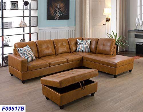Amazon Com Lifestyle Furniture Right Facing 3pc Sectional Sofa Set Faux Leather Ginger Lsf09517b Ki Leather Couches Living Room Lifestyle Furniture Sofa Set